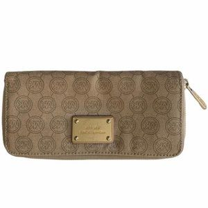 Michael Kors tan/ brown leather logo print wallet